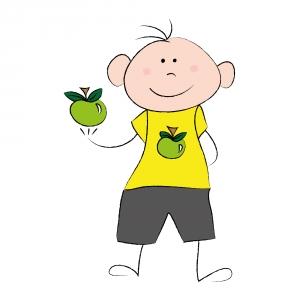 Berniukas su obuolius
